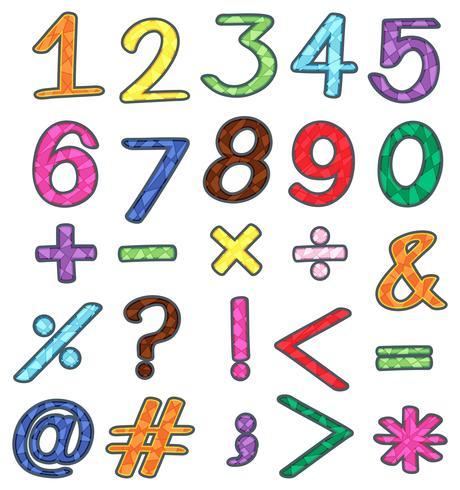 Färgglada tal och matematiska operationer vektor