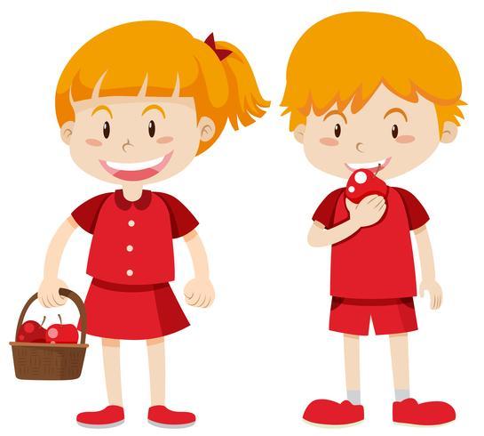 Menino menina, em, vermelho, comer, maçãs