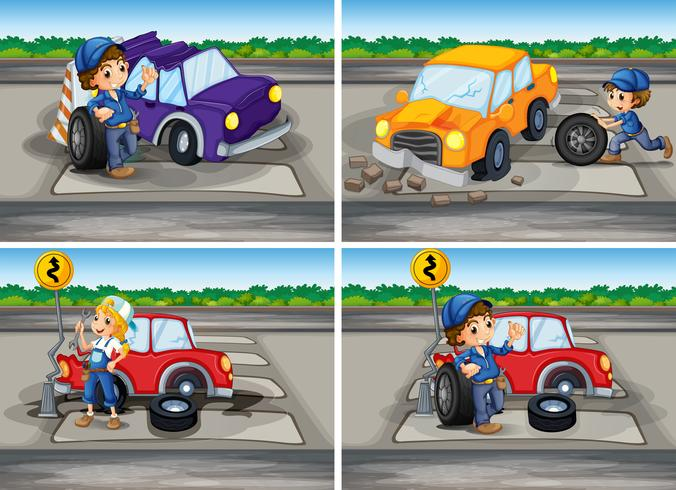 Accident scenes with broken car and mechanics