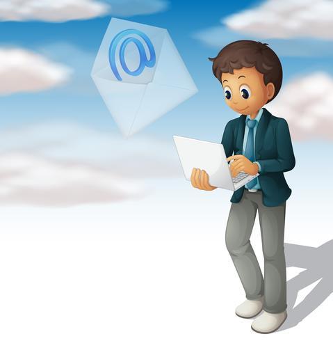 Homem, email enviando, de, laptop computador