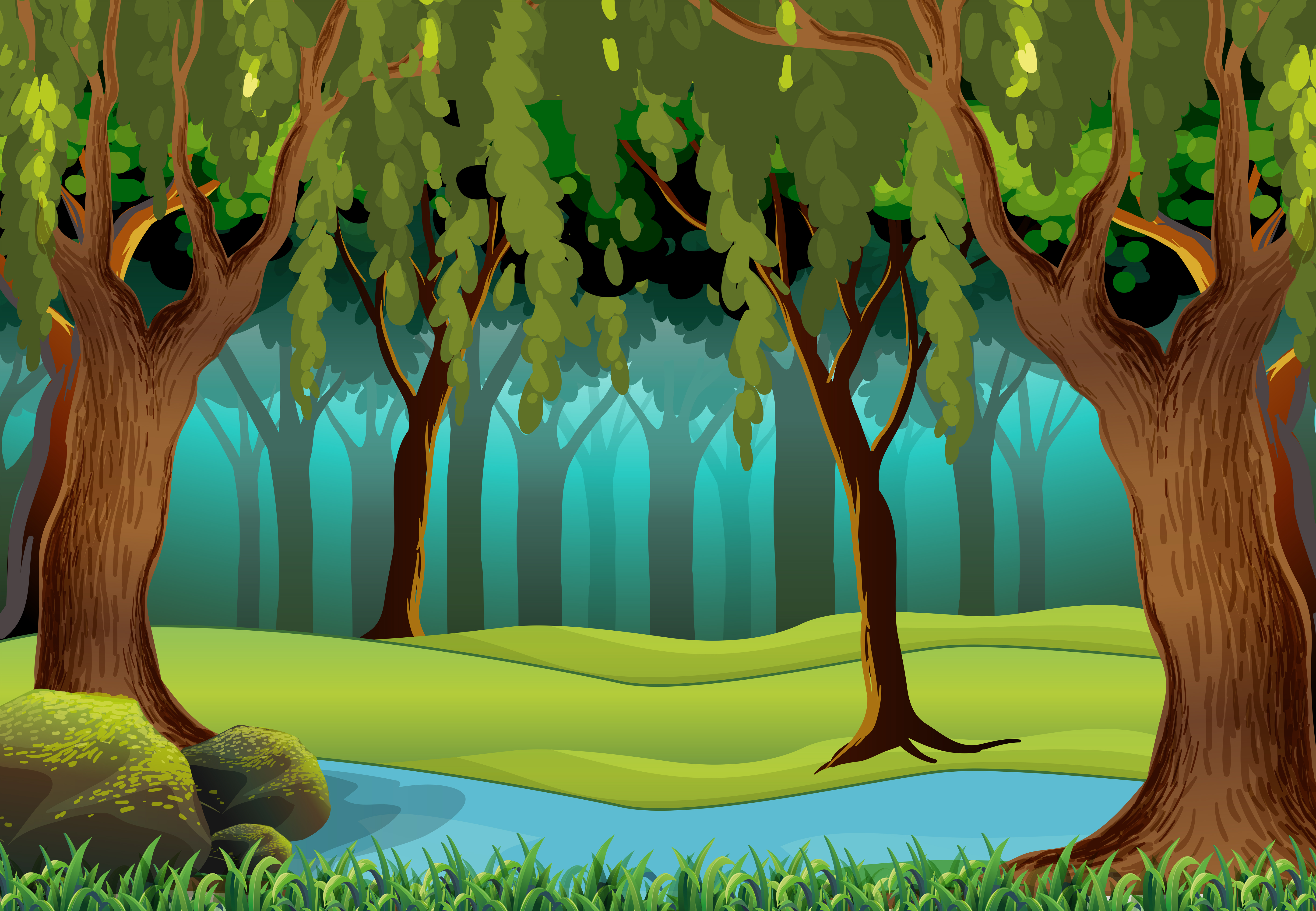 Scene with trees in the jungle - Download Free Vectors ...