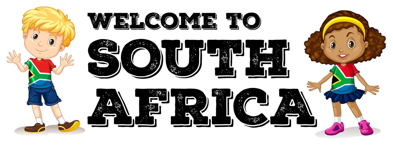 Sydafrikansk pojke och tjej hälsning