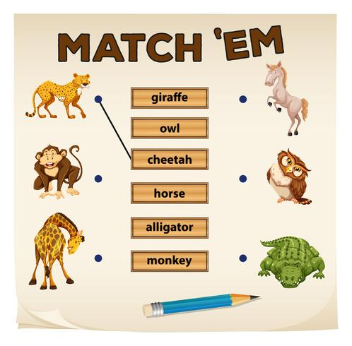 Matching game met wilde dieren