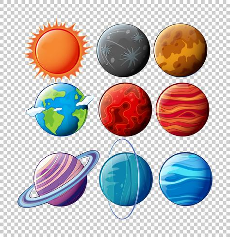 Verschillende planeten in zonnestelsel op transparante achtergrond