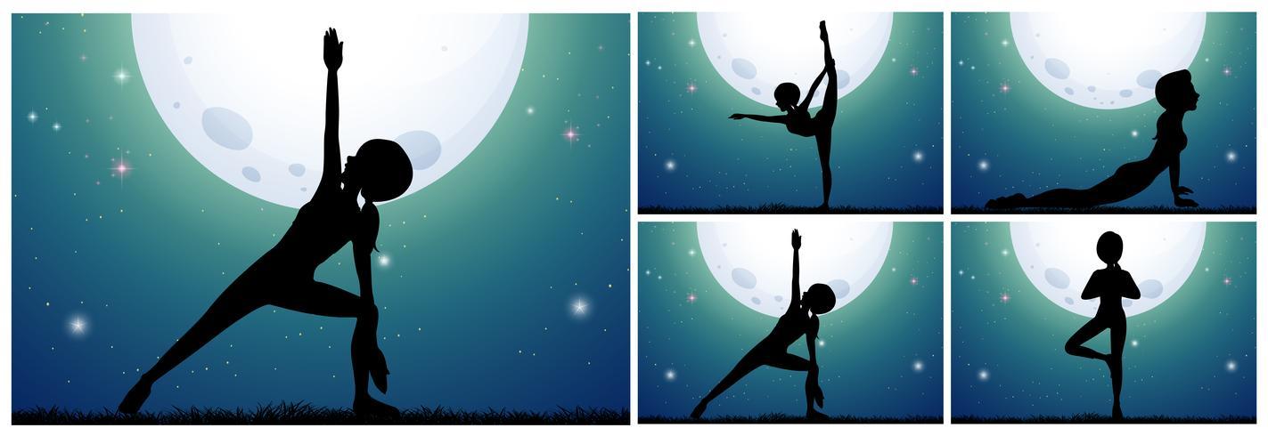 Donna della siluetta che fa yoga sulla notte del fullmoon
