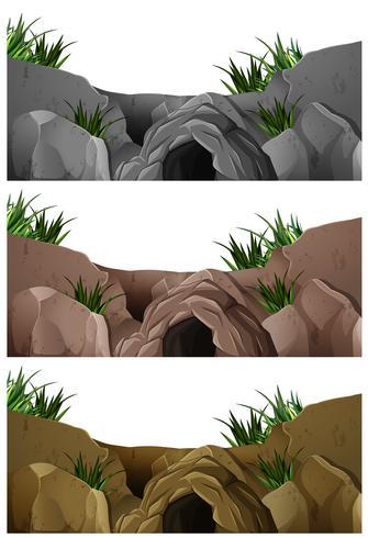 Três cenas de caverna na montanha rochosa