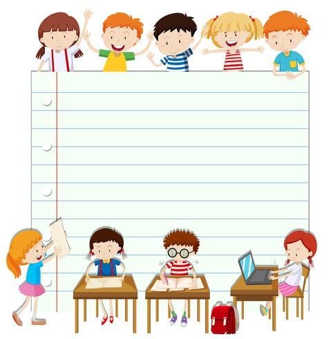 Line pappersdesign med barn i klassrummet