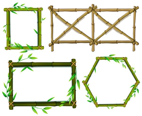 Grön och brun bambu ramar