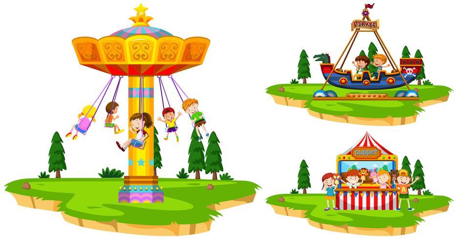 Crianças, tocando, passeios, parque