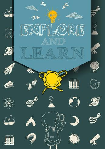 Educational poster with science symbols
