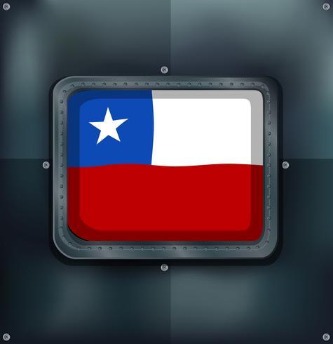 Drapeau chilien sur cadre métallique