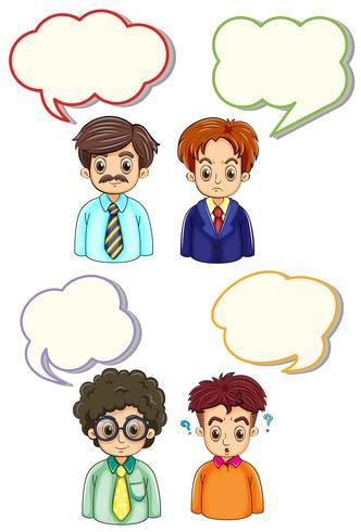 Vier Männer und Sprechblasen