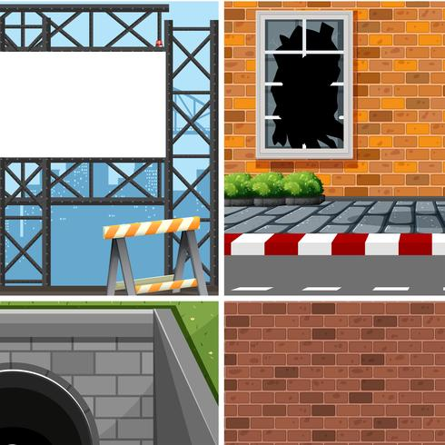 Set of different industrial scenes