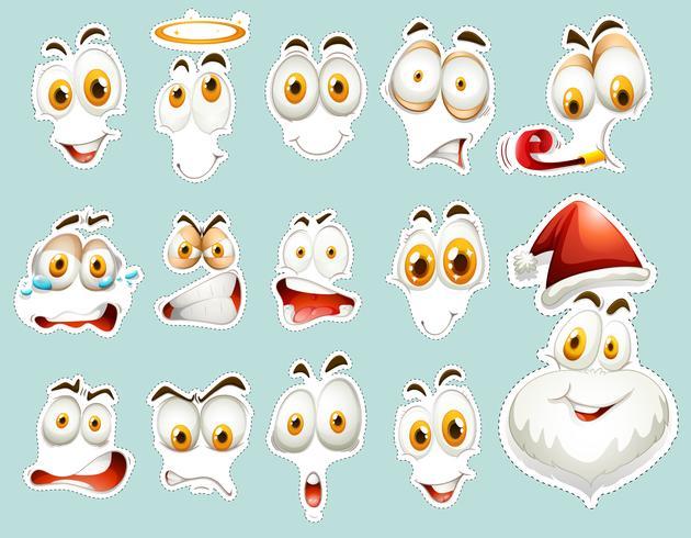 Set de pegatinas con muchos rostros humanos.