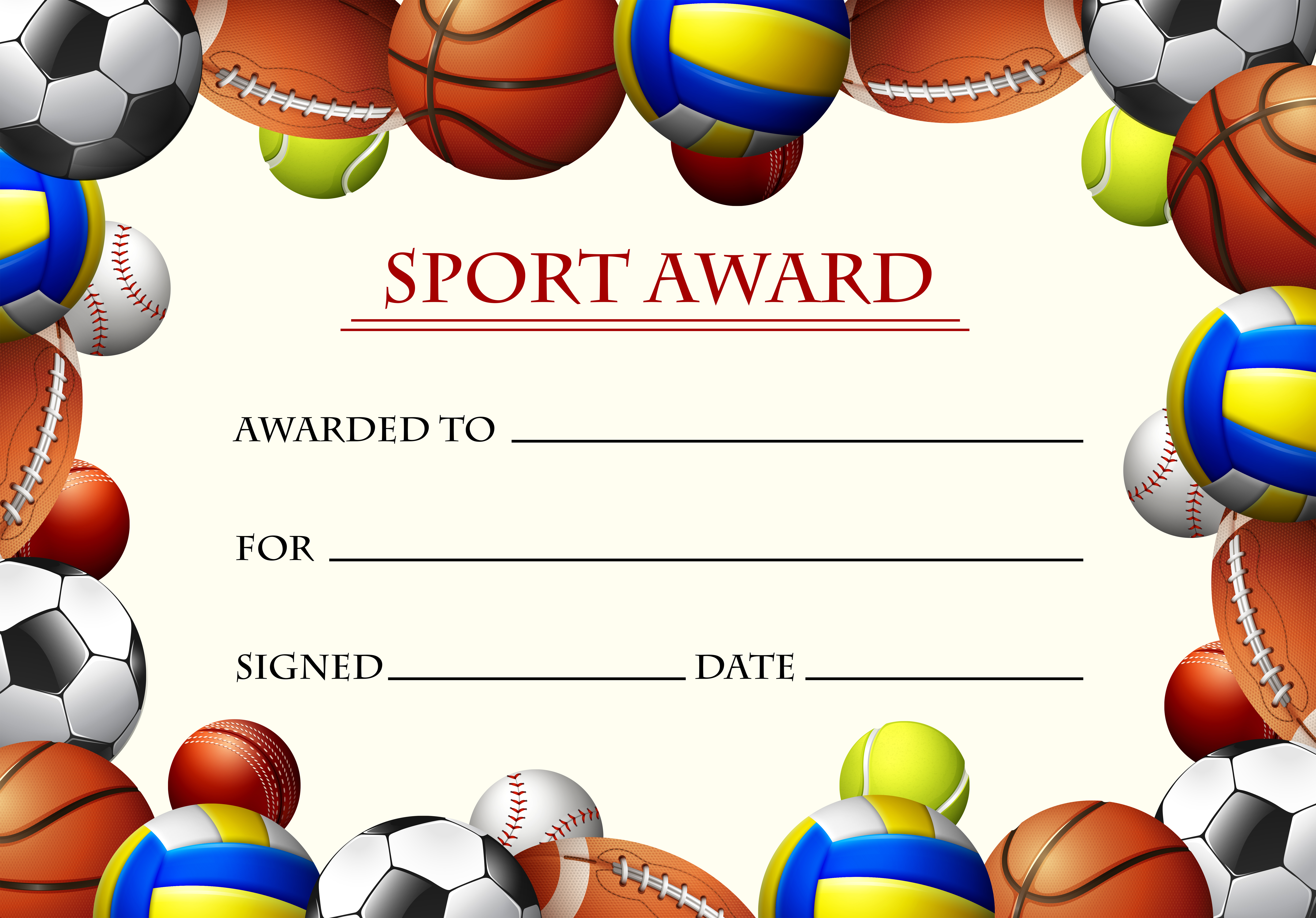 sports certificate free vector art