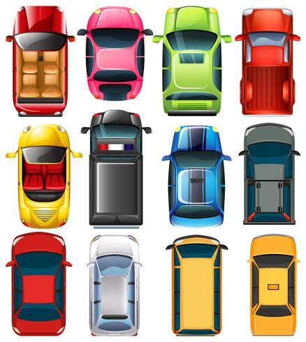 Draufsicht auf verschiedene Autos vektor