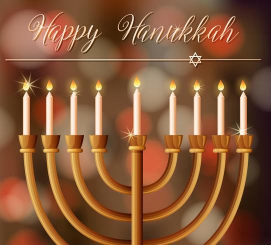 Modello di carta di Hanukkah felice con candele vettore