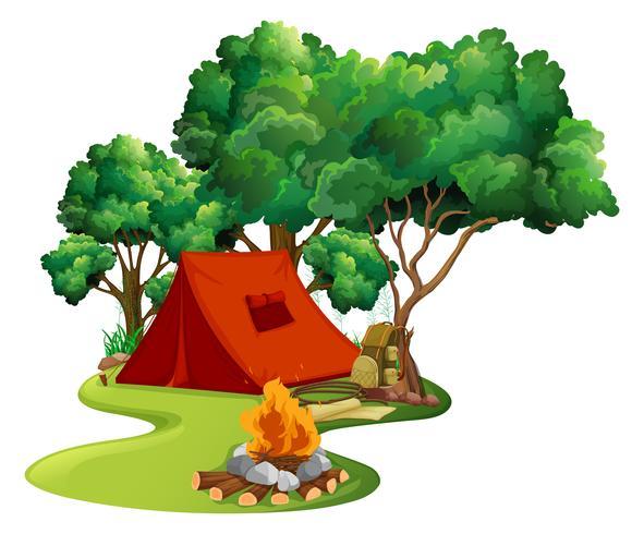 Escena con carpa roja en el bosque