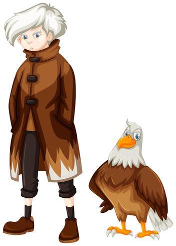 Wilder Adler und Junge mit weißen Haaren