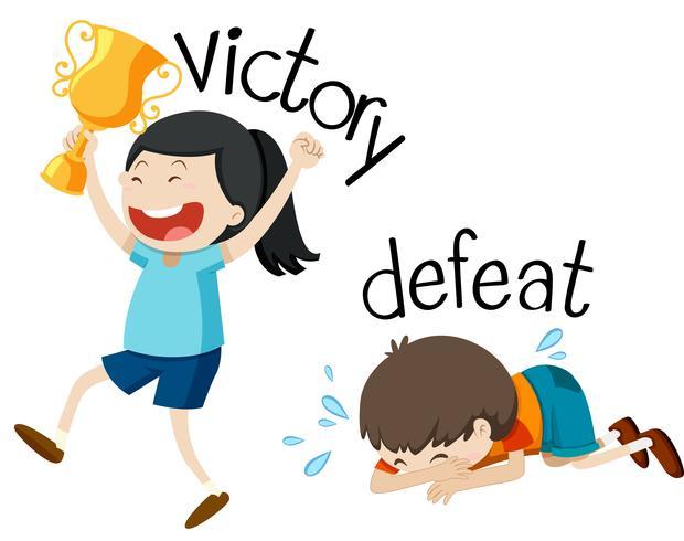 Gegenüberliegende Wordcard für Sieg und Niederlage