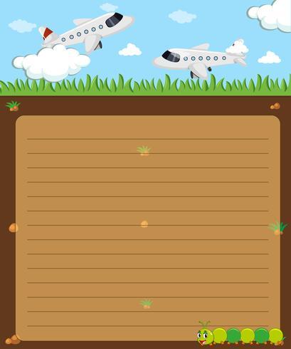 Plantilla de papel con aviones volando