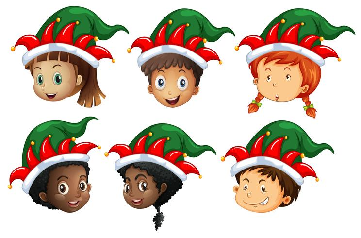 Christmas theme with kids in elf hats
