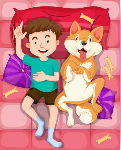 Perro niño y mascota durmiendo en la cama