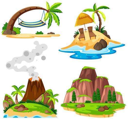 Vier scènes van eiland en strand