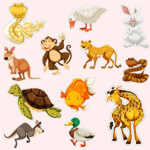 Klistermärke design för vilda djur