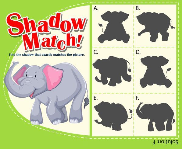 Modelo de jogo para sombra combinando elefante