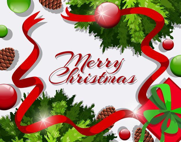 Feliz Natal cartão com fitas vermelhas e enfeites