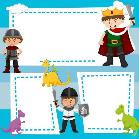 Border template with kids in medieval costumes