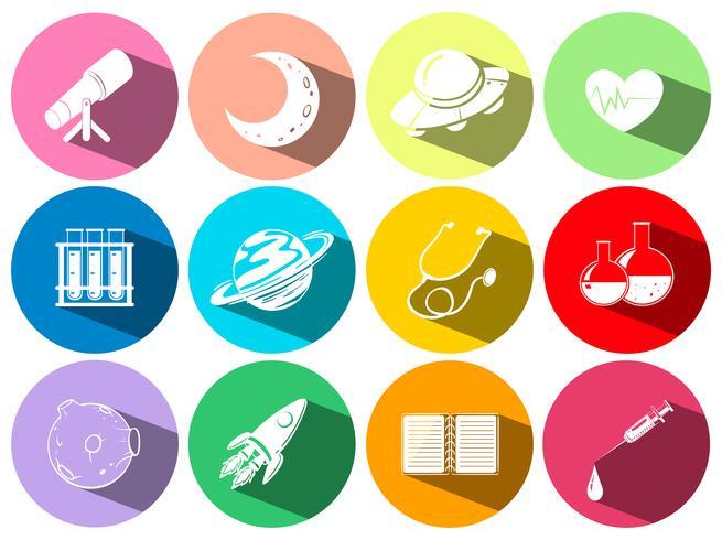 Símbolos de ciencia y tecnología en botones. vector