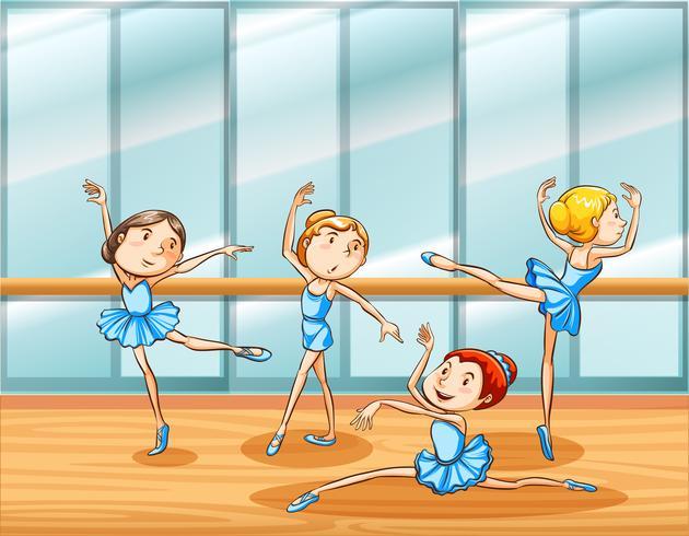Four ballet dancers practice in the room