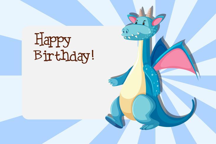Een draak op de sjabloon van de verjaardagskaart
