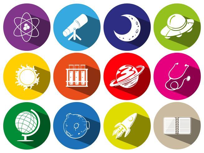 Icone rotonde con simboli di sciece