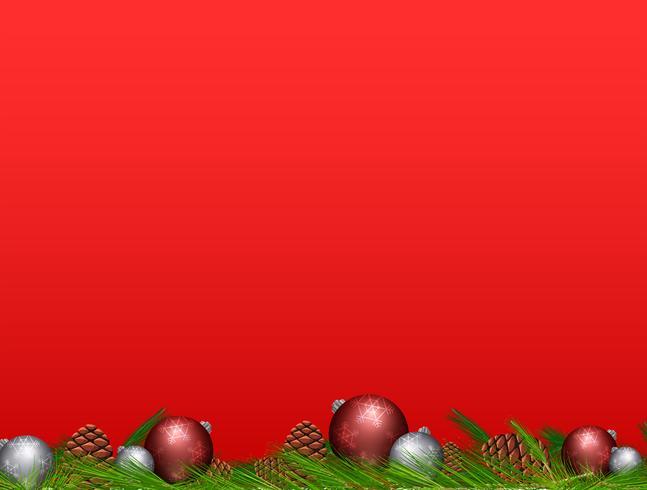 Pinecone e palle di Natale su sfondo rosso