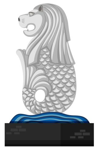 Statue of merlion on white background