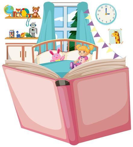 Open boek met slaapkamerthema