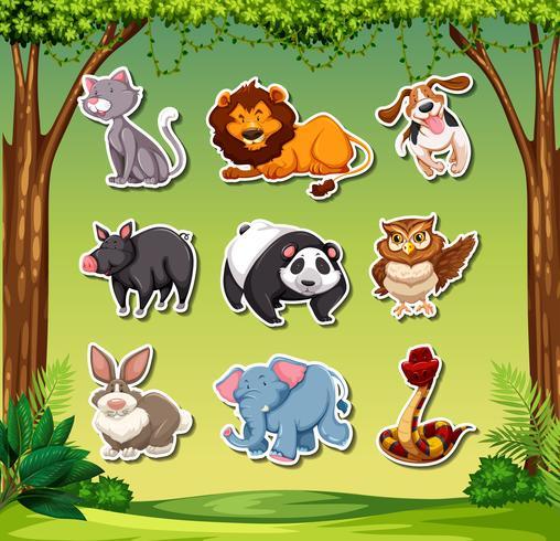 Juego de pegatinas de diferentes animales. vector