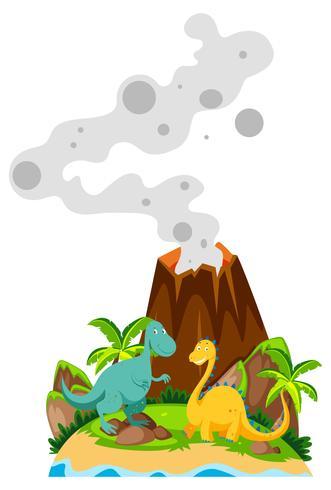 Dos dinosaurios en la base del volcán.