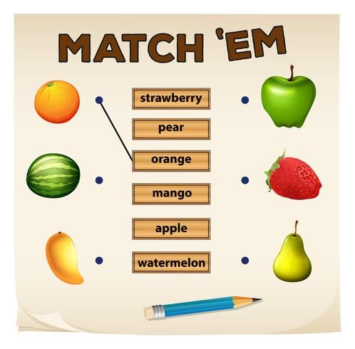 Matching game with fresh fruits