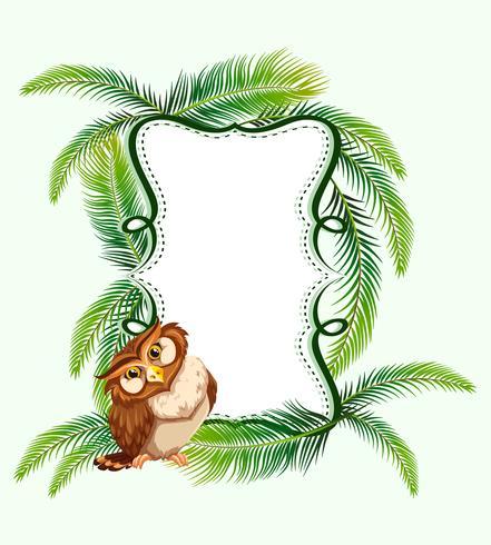 Frame ontwerp met uil en palmbladeren