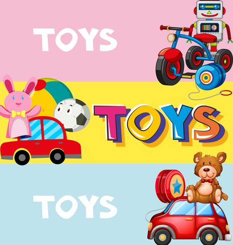 Diseño de cartel con juguetes en el fondo.