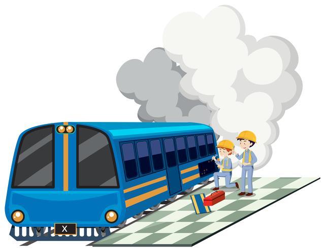 Deux machanics réparant la locomotive
