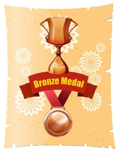 Medaglia di bronzo e trofeo sul poster