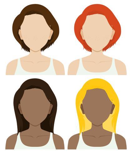 Personagens femininas sem rosto com cabelo comprido e curto