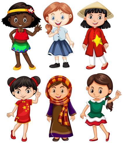 Flickor från olika länder hälsning