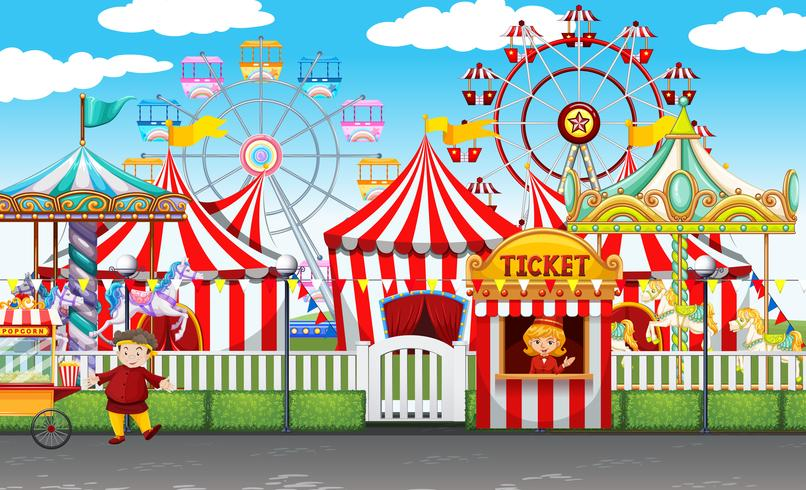Carnival with many rides and shops vector
