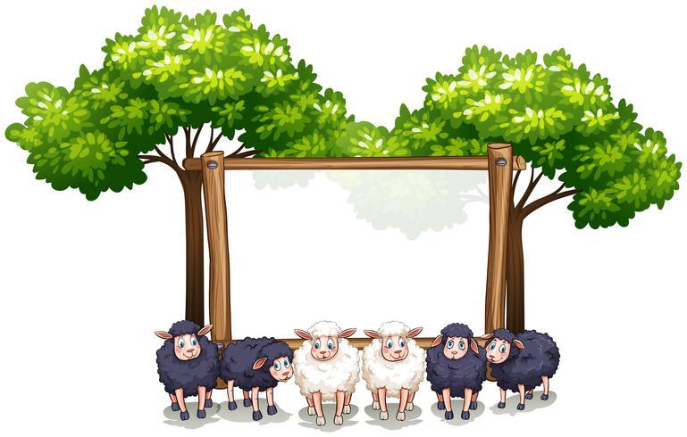 Plantilla de marco de madera con ovejas